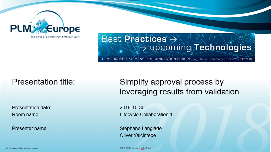 PLM-Europe 2018: Simplify approval process by leveraging results from validation