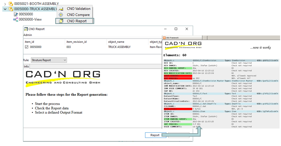 CNO Reporting via Teamcenter Rich Client